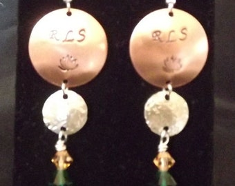 Personalized, Handstamped Earrings