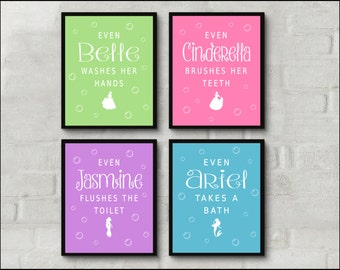 Kids bathroom art girls bathroom disney princess theme print brush wash flush bath bathroom decor bathroom art print set of 4