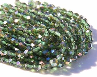 Dark Prairie Green Celsian 6mm Faceted Fire Polish Round Czech Glass Beads   25