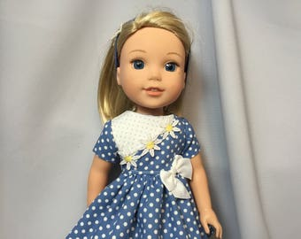 14.5 Inch Doll Clothes Blue Polka Dot Dress with Headband for dolls like Wellie Wishers