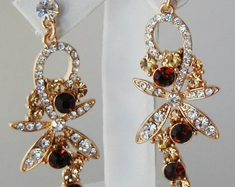 Vintage Light and Dark Topaz Ruby Crystals and Rhinestone Post Earrings