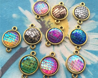 10pc 12mm assorted Colorful mermaid scale cabochon/cameo charms bezel tray connector charms findings--antiqued Gold