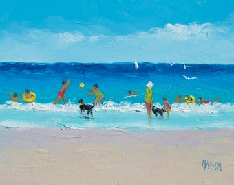 Beach painting, Beach Art, 5x7 painting, beach decor, miniature art, people on beach, beach artwork, swimming art, Etsy Art, Jan Matson