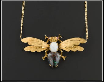 Winged Opal Insect Necklace | Vintage Boulder Opal Necklace | Vintage Pin Conversion Necklace | 18k Opal Insect on 14k Chain