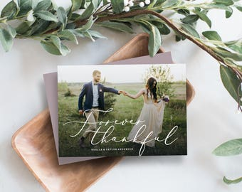 Editable Template - Instant Download Forever Thankful Thank You Photo Card