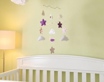 Cloud Nursery Mobile - Bird Mobile - Baby Girl Mobile