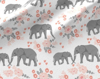Floral Safari Elephants Fabric - Safari Elephants With Floral Animal Nursery By Charlottewinter - Cotton Fabric by the Yard With Spoonflower