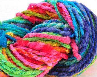 Handspun Chunky Neon Rainbow Stripe Yarn - 46 Yards