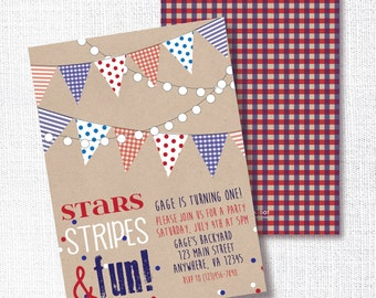 Patriotic 1st Birthday Party Invitation, Printable, Red White And Blue Invite, First, Memorial Day, Labor, 4th Of July, Stars, Stripes