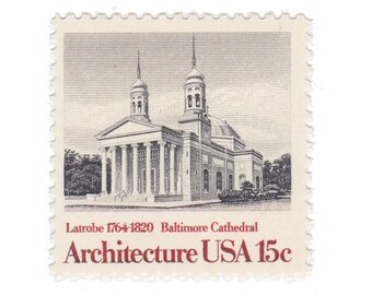 10 Unused Vintage Postage Stamps - 1979 15c Baltimore Cathedral - American Architecture Series - Item No. 1780