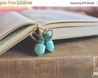 30% OFF SALE Simple turquoise blue glass bead earrings with rhinestone accents, Blue Eyed Girl