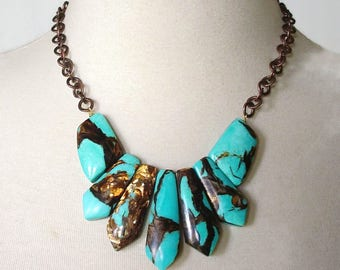 Turquoise Statement Necklace, Boho Chic Necklace, Bold Chunky Necklace, Chunky Bib Necklace, Tribal Statement Necklace, Copper Bornite