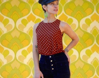 Polka Dots... Polka Dotted... Top... Shirt... Blouse... Tank... Mod... 90s Does 60s... Womens... Spring... Cute... Astral Boutique