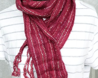 Eligent cashmere, Maroon stripes, twisted fringe, superwash merino wool, hand woven