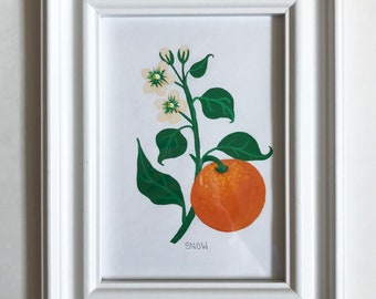 Orange Blossom Gouache Painting