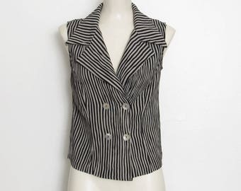 Camille Claudel Sleeveless Blouse / Black & Gray Striped Button-down / Vintage 1980s - 90s Shirt