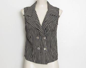 Camille Claudel chemisier sans manches noir & gris rayures chemise boutonnée / Vintage des années 1980-90