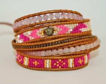 Bracelet wrap miyuki beads semi precious gems c