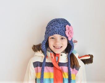 girls winter hat, baby girl hat, Baby hat, kids hat, girls hat,navy blue hat, little girls hat, blue winter hat, crochet girls hat