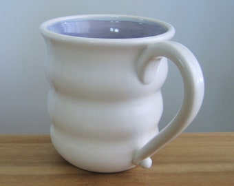 Large Coffee Mug, Purple Beehive Mug, Pottery Coffee Cup 18 oz Lavender Ceramic Mug, Hand Thrown Stoneware, Handmade Coworker Gift