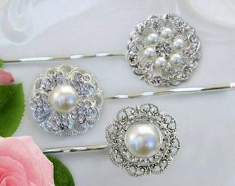 Wedding Hair Pins, Pearl bobby pins, Bridal hair Clips, Crystal Hair pins, Bridal hair pins, vintage style hair pins, Wedding hair clips