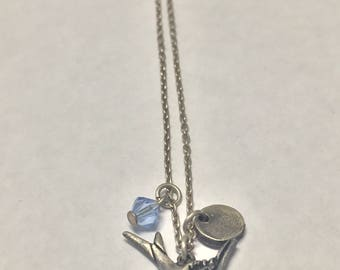 Vintage Sterling Silver Flying Dove Blue Charm Signed AE