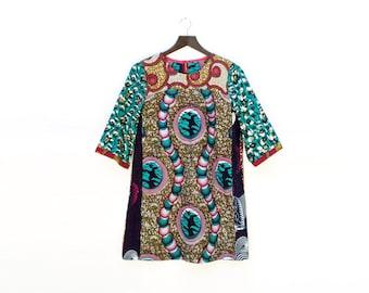African Print Mini Dress, Loose Tunic Dress, African Style, Printed Dress, Loose Shift Dress, Ankara Dress, Unique Mini Dress / S M