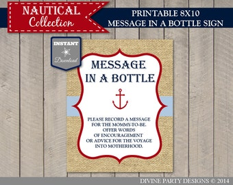 INSTANT DOWNLOAD Printable Nautical 8x10 Message in a Bottle Sign / Navy and Red / Baby Shower /  Nautical Collection / Item #612