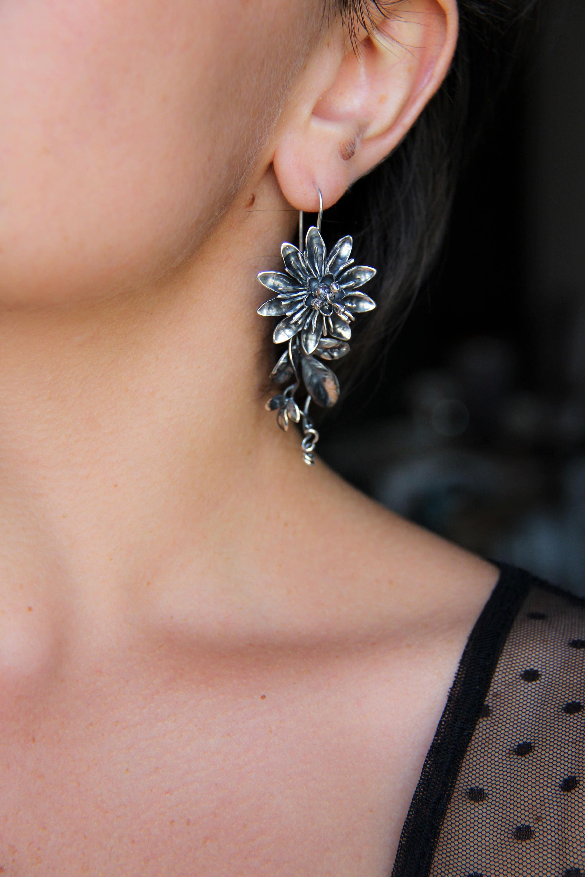 pin earrings back feminine flower large and earring