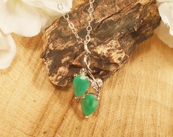 Emerald Leaf Necklace May Birthstone, Sterling Silver, .55 Carat each 7 mm x 5 mm Emerald, May Birthstone gem