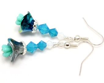 Blue and Green Floral Earrings, Czech Glass Flowers, Swarovski Crystals