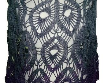 crocheted women's fashion summer PONCHO, S-M, gradient yarn gray-purple