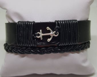 "Bracelet cuir homme "" MEDITERRANEEN"""