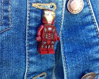 Iron Man Minifigure pin badge brooch quirky superhero marvel avengers assemble gift