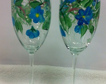 Hand Painted Wine Glasses with Blue Flowers and Plaid Base (set of 2)