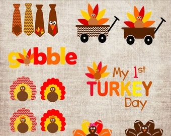 Thanksgiving Turkey Designs Bundle SVG, DXF, PNG, Eps Cuttable & Printable Clipart Designs for Silhouette, Cricut, Sublimation Printing