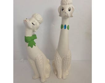 Pair of Male and Female White Ceramic Long Neck Poodles Napco Japan