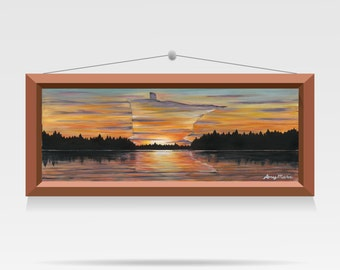 Minnesota Art, Cabin Decor, Cabin Wall Art, Nature Art, Landscape Wall Art, Landscape Print, Lake Painting, Sunset Print by Amy Kulseth