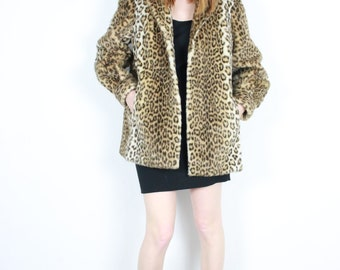 French Vintage 70's Cheetah Faux Fur Jacket Leopard Animal Print Short Coat Plush 1970s Pristine Size Small