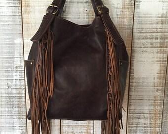 Brown leather hobo bag, fringe purse, brown leather bag, shoulder purse