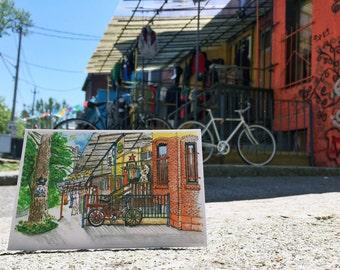 Toronto themed Watercolour Postcards, Watercolor Postcard of Kensington Market, Toronto
