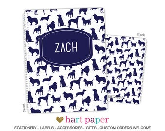 Dog Puppy Navy • Spiral Bound Notebook or 3 Ring Binder • Gift Name Back to School Supplies Birthday Girl Boy Kids Personalized Custom