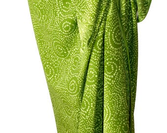 Sarong Wrap Skirt Women's Clothing - Chartreuse Green Hawaiian Style Sarong Skirt - Beach Sarong Cover Up - Batik Pareo Starry Nite Motif