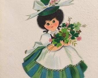 Vinage St. Patrick's Day Card 1950s Mid Century  Unused NOS