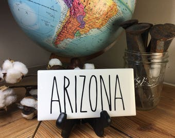 Rae Dunn Inspired ARIZONA State Sign Farmhouse Style Home Decor Rae Dunn Sign Farmhouse Sign Fixer Upper Decor Farm Decor
