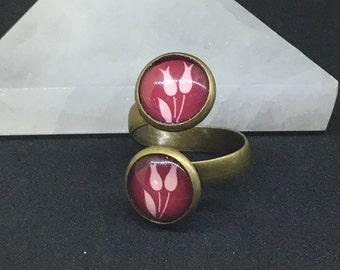 Handmade Brass Purple Bloom Double Cabochon Adjustable Ring