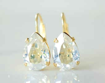 Gold Teardrop Earrings - Gold Crystal Earrings - Gold Drop Earings - Gold Teardrop Earrings