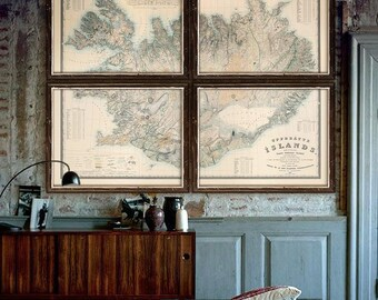 "Iceland map 1844 XXL vintage map of Iceland in 1 or 4 parts, up to 64x48"" (160x120cm) Iceland, Island - Limited Edition of 100"