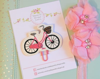 Pink bike bicycle basket planner paper clip / charm / Embroidery / kikkik / diary / kawaii / bookmark