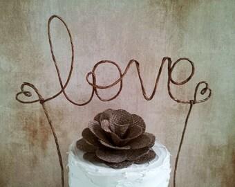 Rustic LOVE Wedding Cake Topper Banner - Rustic Wedding Cake Decoration, Shabby Chic Wedding Decoration, Love Barn Wedding Cake Topper